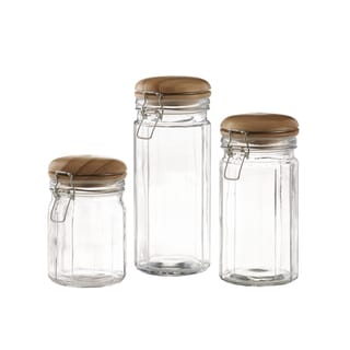 S/3 Glass Canisters Set 50/41/27 OZ