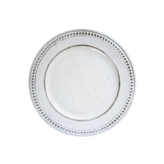 "Beaded White Antique Set of 4 Round Charger Plate 14""D"