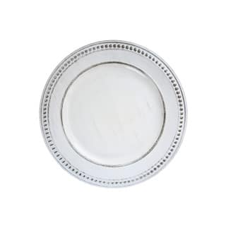 "Beaded White Antique Set of 4 Round Charger Plate 14""D