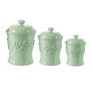American Atelier Mint Bianca Leaf 3-piece Canister Set