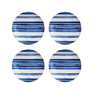 American Atelier Blue Swoosh Stripe S/4 Salad Plates