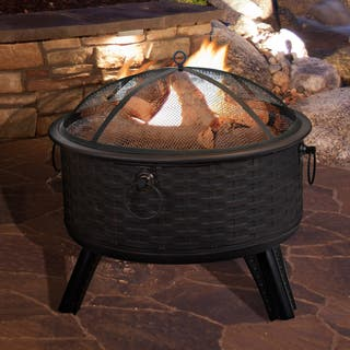 Pure Garden 26 Round Woven Metal Fire Pit with Cover - Antique Bronze