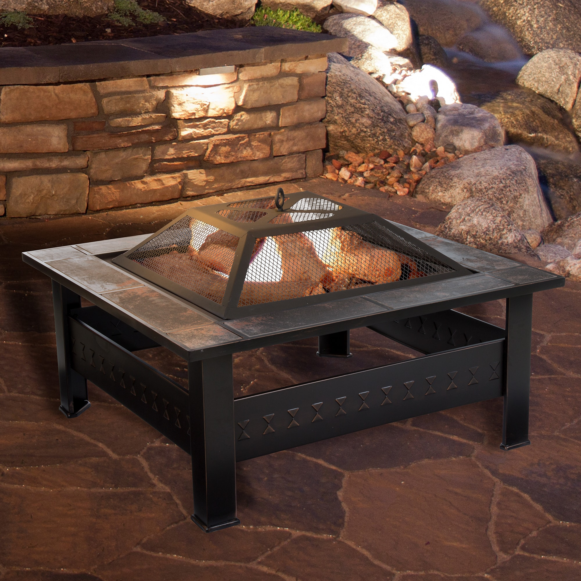 Shop Pure Garden 32 Inch Square Tile Fire Pit With Cover Bronze