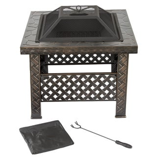 Pure Garden 26 inch Square Woven Metal Fire Pit with Cover - Bronze