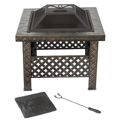 Pure Garden 26 inch Square Woven Metal Fire Pit with Cover - Bronze - 26 x 26 x 20