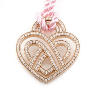 Poiray Wire Heart Framework 18K Rose Gold Diamond Pendant & Cord Necklace