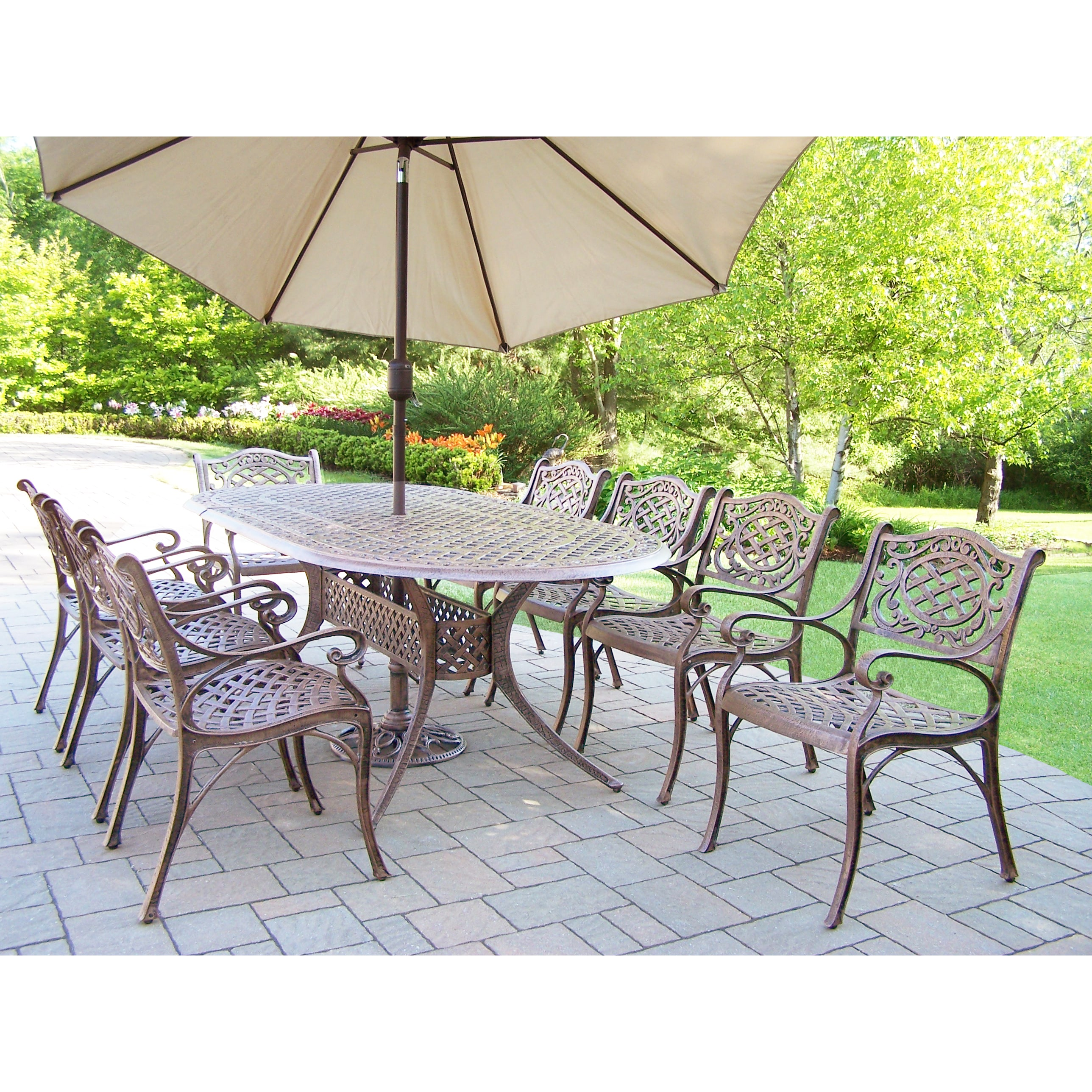 Fabulous Outdoor Dining Set With Oval Table 8 Chairs Umbrella And Stand Pdpeps Interior Chair Design Pdpepsorg