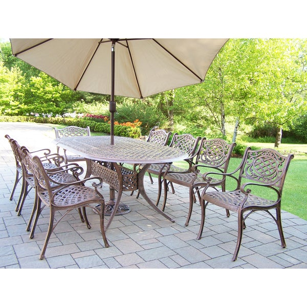 Magnificent Shop Outdoor Dining Set With Oval Table 8 Chairs Umbrella Home Interior And Landscaping Ponolsignezvosmurscom