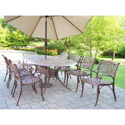Outdoor Dining Set with Oval Table, 8 Chairs, Umbrella and Stand
