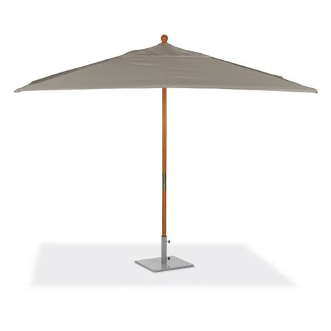 Oxford Garden 10-feet Rectangular Taupe Sunbrella Fabric Shade Market Umbrella with Solid Tropical Hardwood Frame