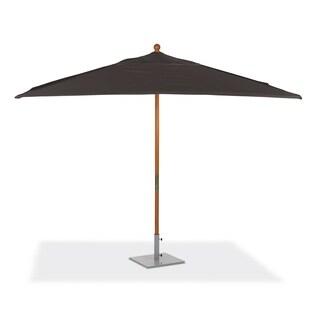 Oxford Garden 10-feet Rectangular Black Sunbrella Fabric Shade Market Umbrella with Solid Tropical Hardwood Frame