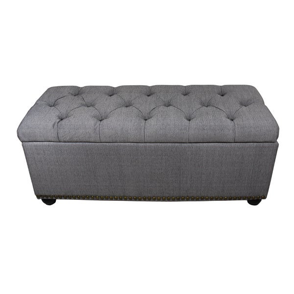 Shop Tufted Grey Storage Bench On Sale Free Shipping