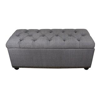 Tufted Grey Storage Bench