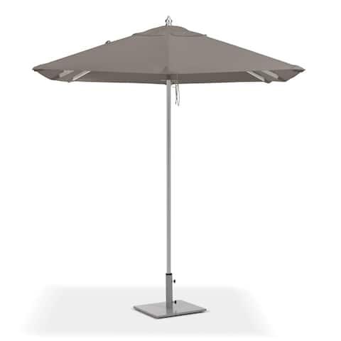 Oxford Garden 6.5-feet Square Taupe Sunbrella Fabric Shade Market Umbrella with Brushed Aluminum Frame