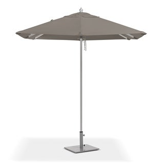 Oxford Garden 6.5-feet Square Taupe Sunbrella Fabric Shade Market Umbrella with Brushed Aluminum Frame