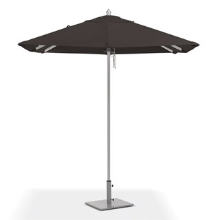 Oxford Garden 6.5-feet Square Black Sunbrella Fabric Shade Market Umbrella with Brushed Aluminum Frame