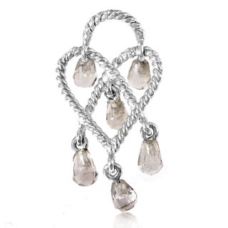 Poiray In Love Heart 18k White Gold Smoky Quartz Briolette Heart Charm Pendant