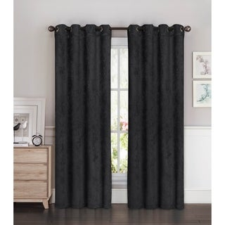 Bella Luna Faux Suede Room Darkening Extra Wide 84-inch Grommet Curtain Panel Pair - 54 x 84