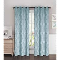 Bella Luna Drona Room Darkening Woven Jacquard Thermal Lined 84-inch Grommet Curtain Panel Pair - 76 x 84