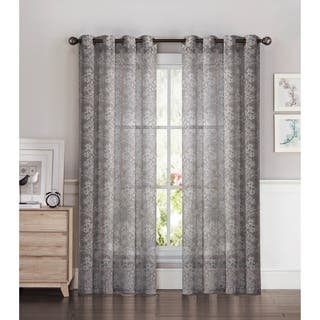 Window Elements Botanica Faux Linen Semi-Sheer Extra Wide 54 x 84 Grommet Curtain Panel - 54 x 84|https://ak1.ostkcdn.com/images/products/14103429/P20711464.jpg?impolicy=medium