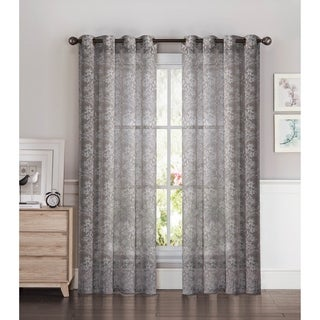 Window Elements Botanica Faux Linen Semi-Sheer Extra Wide 54 x 84 Grommet Curtain Panel - 54 x 84