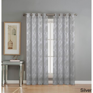 Window Elements Avery Cotton Blend Burnout Sheer Extra Wide 84-inch Grommet Curtain Panel Pair - 54 x 84