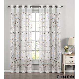 Window Elements Wavy Leaves Embroidered Sheer Extra Wide 84-inch Grommet Curtain Panel - 54 x 84|https://ak1.ostkcdn.com/images/products/14103434/P20711468.jpg?impolicy=medium