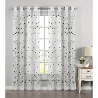 Wavy Leaves Embroidered Sheer Extra Wide 84 Inch Grommet Curtain Panel
