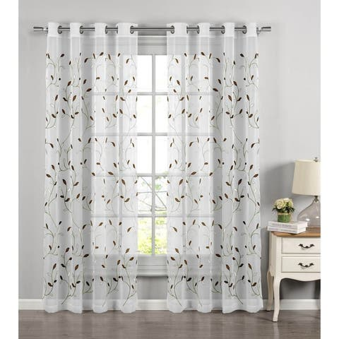 Wavy Leaves Embroidered Sheer Extra Wide 84-inch Grommet Curtain Panel - 54 x 84 - 54 x 84