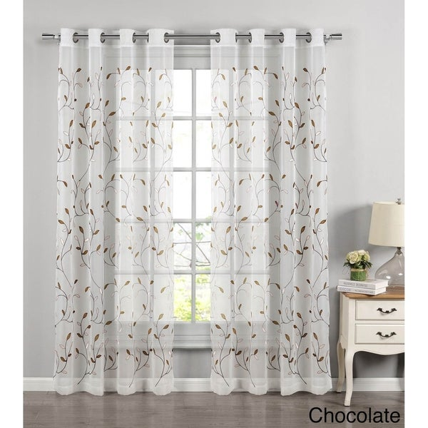 Wavy Leaves Embroidered Sheer Extra Wide 84-inch Grommet Curtain Panel - 54 x 84 - 54 x 84. Opens flyout.