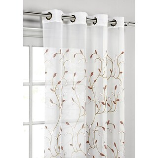 Window Elements Wavy Leaves 54-inch x 84-inch Embroidered Sheer Extra-wide Grommet Curtain Panel (Option: rust)