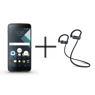 BlackBerry DTEK60 Unlocked GSM Smartphone, Black + SHARKK Flex 2o Wireless Bluetooth WaterProof Headphones (Value Bundle)