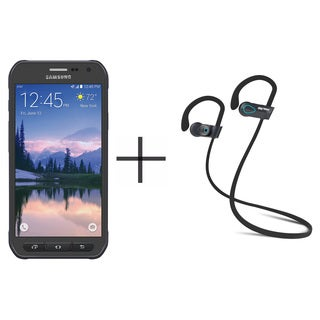 Samsung Galaxy S6 Active Unlocked GSM Smartphone, Gray + SHARKK Flex 2o Wireless Bluetooth WaterProof Headphones (Value Bundle)