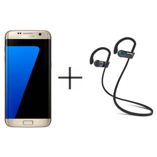 Samsung Galaxy S7 Edge Unlocked GSM Smartphone, Gold + SHARKK Flex 2o Wireless Bluetooth WaterProof Headphones (Value Bundle)