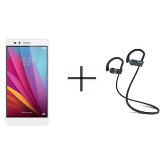 HUAWEI Honor 5X KIW-L24 Unlocked GSM Smartphone, Silver + SHARKK Flex 2o Wireless Bluetooth WaterProof Headphones (Value Bundle)