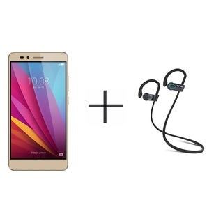 HUAWEI Honor 5X KIW-L24 Unlocked GSM Smartphone, Gold + SHARKK Flex 2o Wireless Bluetooth WaterProof Headphones (Value Bundle)