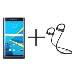BlackBerry PRIV STV100-1 Unlocked GSM Smartphone, Black + SHARKK Flex 2o Wireless Bluetooth WaterProof Headphones (Value Bundle)