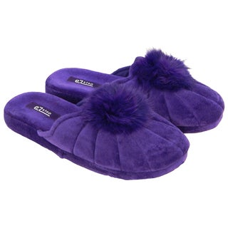 Vecceli Womens Fluffy Pom Pom Velvet Slippers