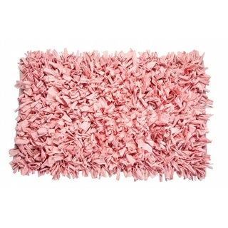 Light Pink Cotton Jersey Shag Indoor Rug (2' x 3')