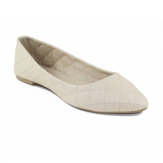 FFC New York Women's Cappy Beige Faux Leather Flat Shoe