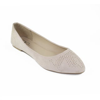 FFC New York Women's Betty Nude Microfiber Studded Flat (5 options available)