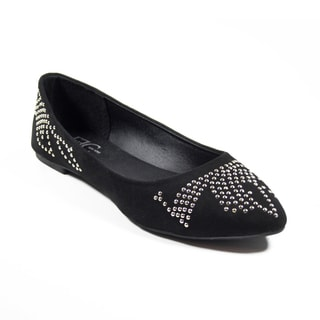 FFC New York Betty Black Microfiber Ballerina Flats