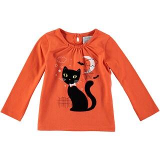 Rockin' Baby Girls' Creepy Cat Orange Cotton Tee