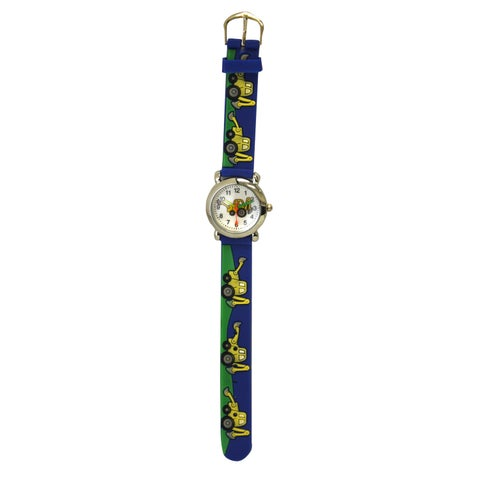 Olivia Pratt Kids' Stainless Steel Case Silicone Strap Bulldozer Print Watch