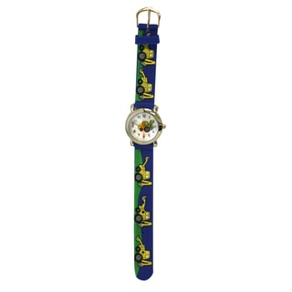 Olivia Pratt Kids' Stainless Steel Case Silicone Strap Bulldozer Print Watch