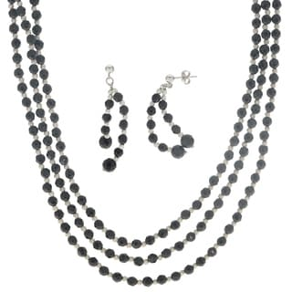 Gems For You Sterling Silver Black Onyx and Brilliance Bead Necklace and Earring Set