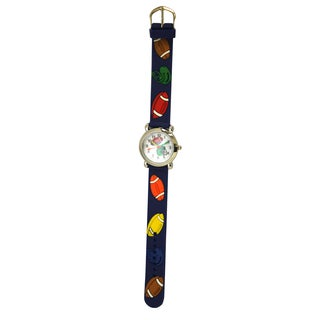 Olivia Pratt Kids' Silver Bezel Silicone Football Watch