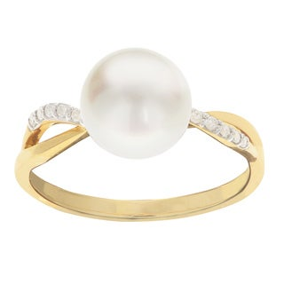 Pearls For You 14K Yellow Gold White Freshwater Pearl and Diamond Ring (8.5-9 mm) (H-I, I3)