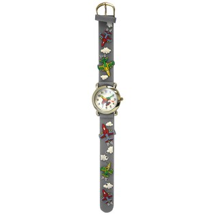 Olivia Pratt Jet Plane Kids' Silicone Band Silver Bezel Watch (Option: One-Size Grey)