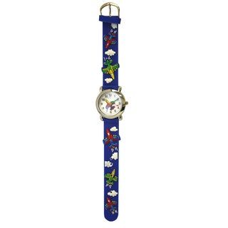 Olivia Pratt Jet Plane Kids' Silicone Band Silver Bezel Watch (3 options available)
